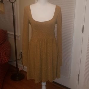 NWT Free People gold sparkle party dress M